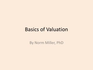 Basics of Valuation