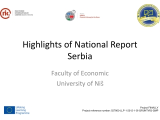 Highlights of National Report Serbia
