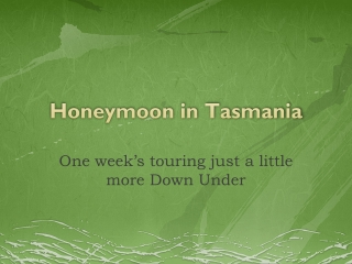 Honeymoon in Tasmania