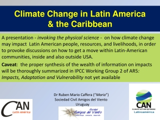 Climate Change  in  Latin America &  the Caribbean