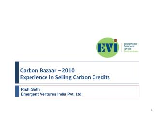Carbon Bazaar – 2010 Experience in Selling Carbon Credits