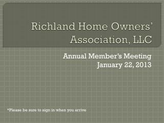 Richland Home Owners' Association, LLC
