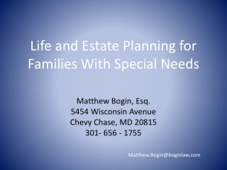Life  and  Estate  Planning for Families With Special Needs