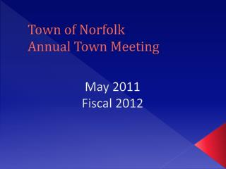 Town of Norfolk Annual Town Meeting