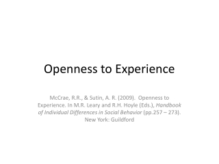 Openness to Experience