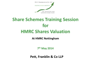 Share Schemes Training Session for  HMRC Shares Valuation