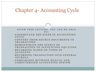 Chapter 4- Accounting Cycle
