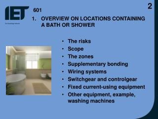 OVERVIEW ON LOCATIONS CONTAINING A BATH OR SHOWER