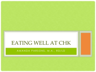 Eating well at chk