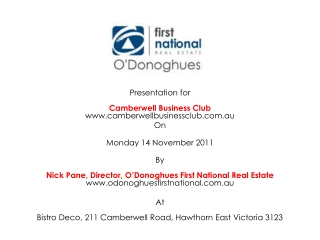 Presentation for  Camberwell  Business Club www.camberwellbusinessclub.com.au On  Monday 14 November 2011