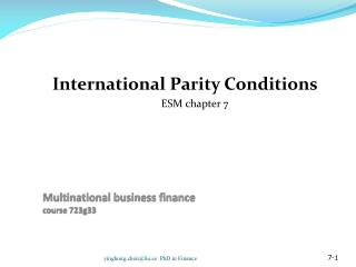 Multinational business finance course  723g33
