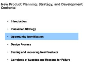 New Product Planning, Strategy, and Development Contents