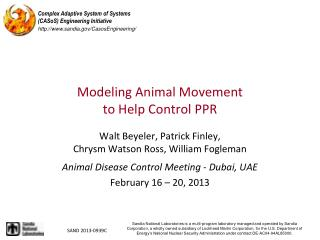 Modeling Animal Movement  to  Help Control PPR