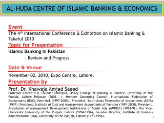 AL-HUDA CENTRE OF ISLAMIC BANKING & ECONOMICS
