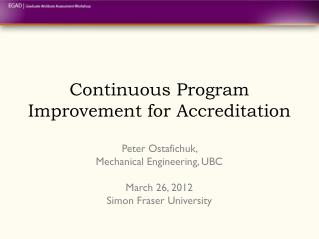 Continuous Program Improvement for Accreditation