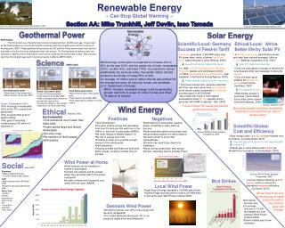 Renewable Energy ~ Can Stop Global Warming ~