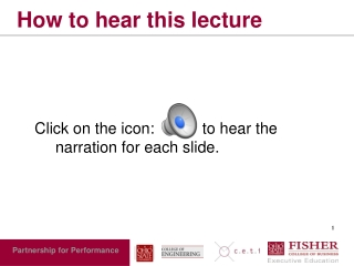 How to hear this lecture