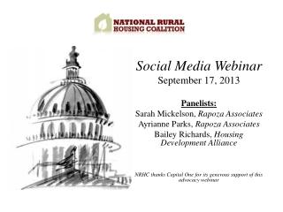 Social Media Webinar September 17, 2013 Panelists: Sarah Mickelson, Rapoza Associates