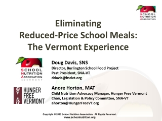 Eliminating  Reduced-Price School Meals: The Vermont Experience