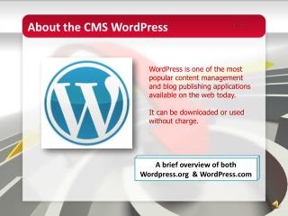 About the CMS  WordPress