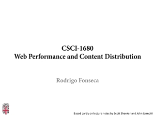 CSCI-1680 Web Performance and Content Distribution