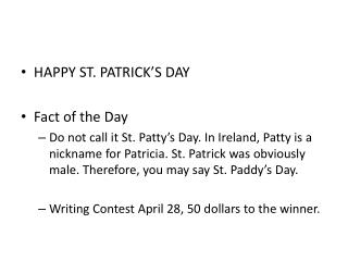 HAPPY ST. PATRICK'S DAY Fact of the Day
