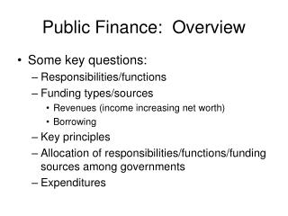 Public Finance:  Overview