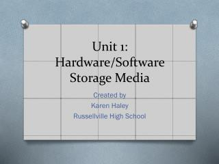 Unit 1: Hardware/Software Storage Media