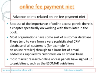 Advice To Help You submitted online fee payment niet
