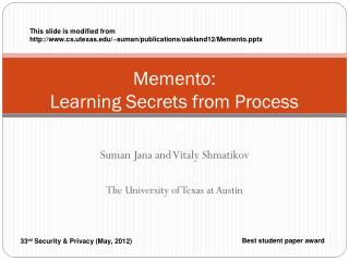 Memento:  Learning Secrets from Process Footprints