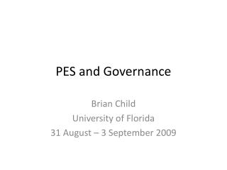 PES and Governance