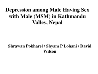 Depression among Male Having Sex with Male (MSM) in Kathmandu Valley, Nepal