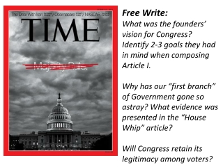 Free Write:  What was the founders' vision for Congress? Identify 2-3 goals they had in mind when composing Article I.