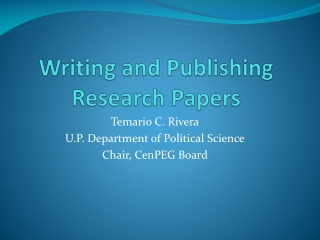 Writing and Publishing Research Papers