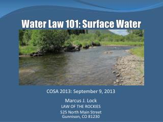 Water  Law 101: Surface Water