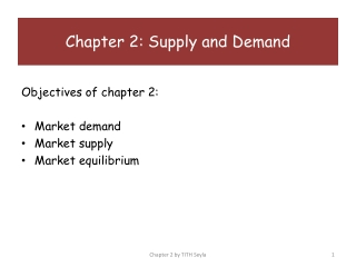 Objectives of chapter 2: Market demand Market supply Market equilibrium
