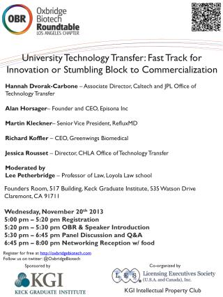 University Technology Transfer: Fast Track for Innovation or Stumbling Block to Commercialization