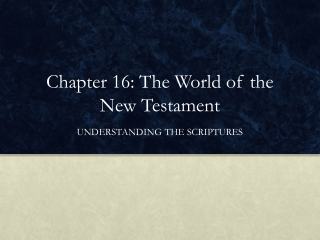 Chapter 16: The World of the New Testament