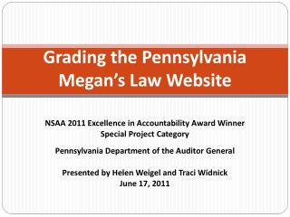 Grading the Pennsylvania Megan's Law Website