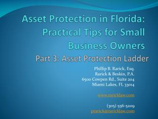 Asset Protection in Florida:  Practical Tips for  Small Business Owners