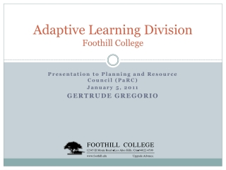 Adaptive Learning Division Foothill College