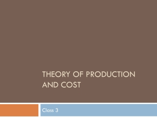 Theory of Production and cost