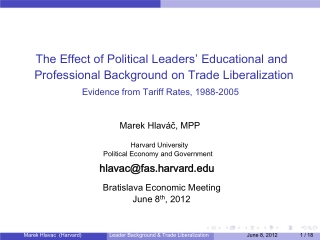 The Effect of Political Leaders ' Educational and Professional Background on Trade Liberalization