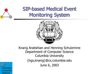 SIP-based Medical Event Monitoring System