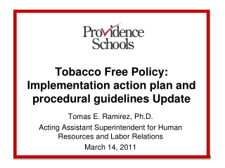 Tobacco Free Policy: Implementation action plan and procedural guidelines Update