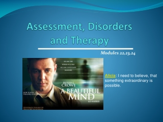 Assessment, Disorders and Therapy