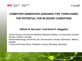 COMPUTER GENERATED GUIDANCE FOR  FORECASING THE  POTENTIAL FOR BLIZZARD  CONDITIONS