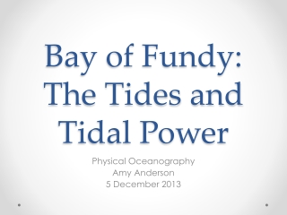 Bay of Fundy: The Tides and Tidal Power