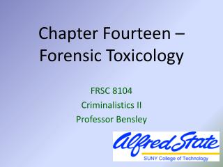 Chapter Fourteen –  Forensic Toxicology