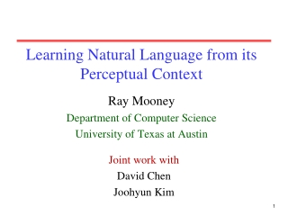 Learning Natural Language from its Perceptual Context